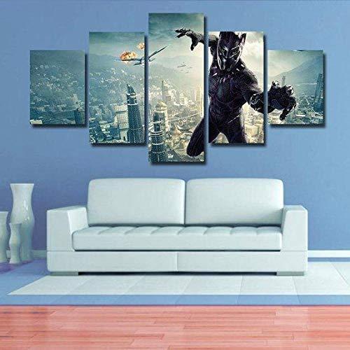 VKEXVDR Impresión de Lienzo de Pared Arte Imagen,Pantera Negra Pintura RomáNtica De Arte para Sala De Estar Dormitorio,200x100cm