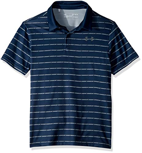 Under Armour Jungen Tour Tips Poloshirt, gestreift, Jungen, Polo, Tour Tips Stripe Polo, Academy Blue (408)/Pitch Gray, Youth X-Large