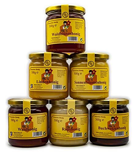 Imkerei Beck® - 6 x 500g / 3000g / 3 kg Honig / Echter Deutscher Imkerhonig im Vorteilspack / Bienenhonig Set direkt vom Imker aus Bayern (3x cremig & 3x flüssig)
