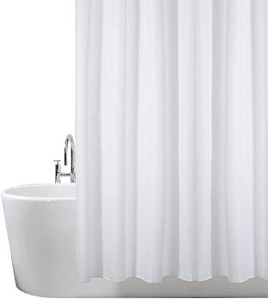 ANSIO Shower Curtain Mould and Mildew Resistant Solid White, 180 x 180 cm (71 x 71 Inch) | 100% Polyester