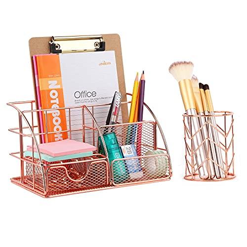Organizador de escritorio, organizador de escritorio de malla de oro rosa, organizador de papelería multifuncional, de metal, organizador de maquillaje con soporte para bolígrafos