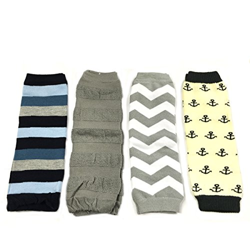 Allydrew 4 Pack Leg Warmers In Various Styles For Babies And Toddlers, Stripe, Grey, Chevron, Anchor