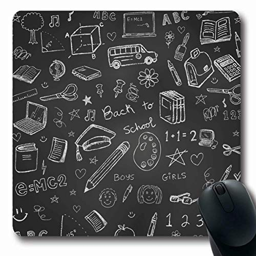 Jamron Mousepad OblongBillboard Back School Doodles Tafel Zeichen Zahlen Buchstaben Symbole Mathematik Mathe Schere Kopie Bildung rutschfeste Gummi Mauspad Büro Computer Laptop Spiele Mat.-Nr.