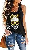 ETCYY Women's Sunflower Print Tank Tops Workout Loose Fit Sleeveless Yoga Athletic Skull Shirts