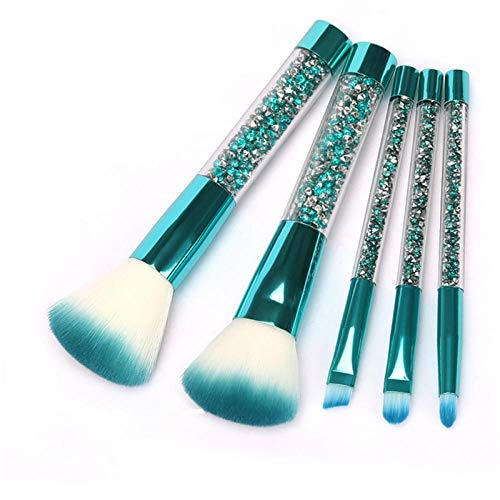 Llxhg make-up tool set 5 stuks/set blauw goud diamond kristal make-up kwast set Shinny foundation blending Face Brush groen