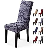 Fundas para sillas 4 Piezas Funda de Silla Comedor Stretch Cubiertas para sillas Extraíble Lavable Cubierta de Asiento Fundas sillas Duradera Modern Boda Decor Restaurante(Jacquard-Gris Humo)