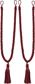 Home Queen Decorative Tassel Rope Tie Backs for Window Curtain, Hand Knitting Buckle Cord Drapery Tieback, Set of 2, Burgundy