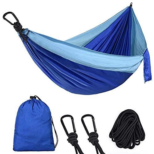 WYJRF Equipo para Acampar Nylon Hamaca para Dos Personas Adultos Camping al Aire Libre Mochila Viaje Supervivencia Jardín Columpio Caza Cama para Dormir Hamaca portátil (Color (al Aire Libre)