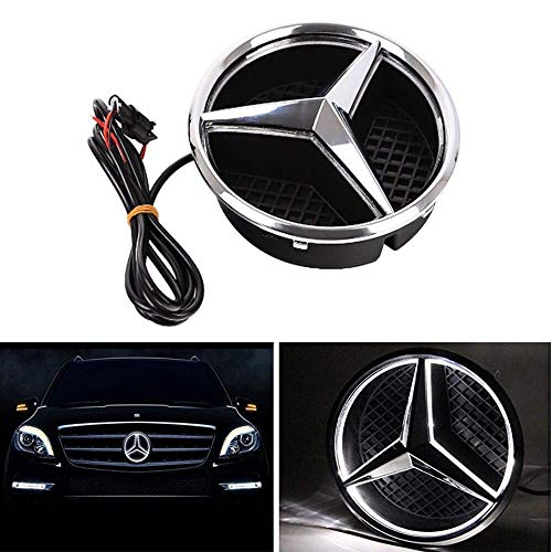Bearfire LED Emblem Logo Grid LED Badge Front Light For Mercedes Benz A/B/C/CLS/E/GLK/GL/R Series (white, not transparent grid)