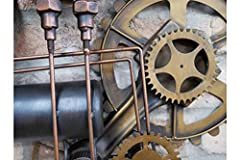 Casadomu Steampunk Clock Industrial Pipe Wall Hanging Large Rustic Cogs Decor Timepiece #2