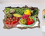 Pegatinas de pared Etiqueta de la pared Alimentos saludables Vegetales orgánicos Etiqueta de la pared Póster Arte 3D Decoración mural 80 * 120CM