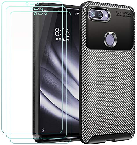 ivoler Funda para Xiaomi Mi 8 Lite + 3 Unidades Cristal Templado, Fibra de Carbono Negro TPU Suave de Silicona [Carcasa + Vidrio Templado] Ultra Fina Caso y Protector de Pantalla
