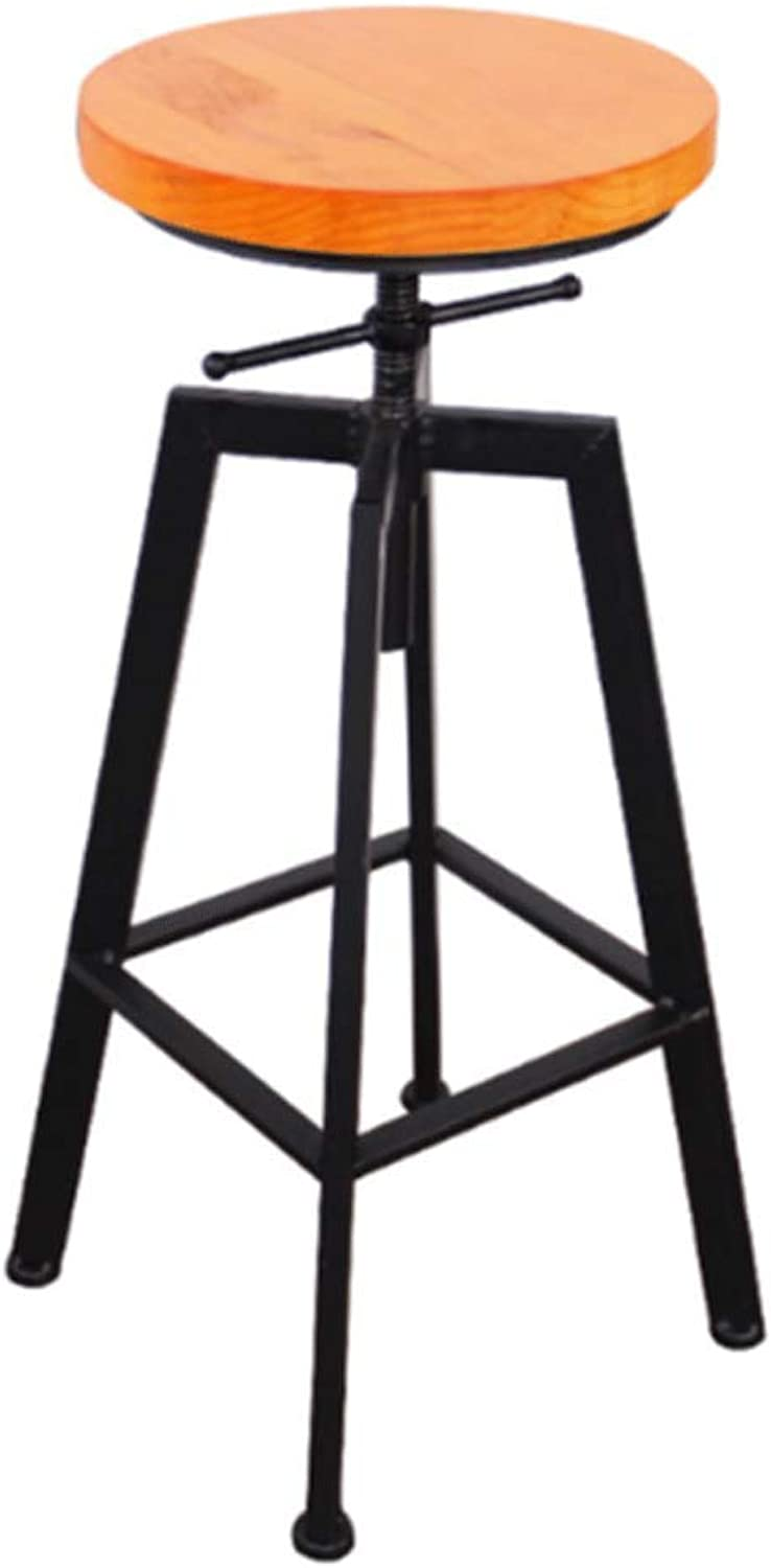 Iron Bar Chair Industrial Wind Home Lift Bar Chair Solid Wood High Chair High Bar Stool (color   Brown)