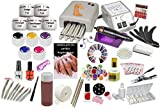 Nagelstudio Set komplett für die künstliche Nagelmodellage | Manikure + Pediküre | Nagelstudio Starterset mit UV Lampe 36 Watt | Nagelfräser |UV Gel | UV Farbgel| Nailartmix | MEGA Zubehör |