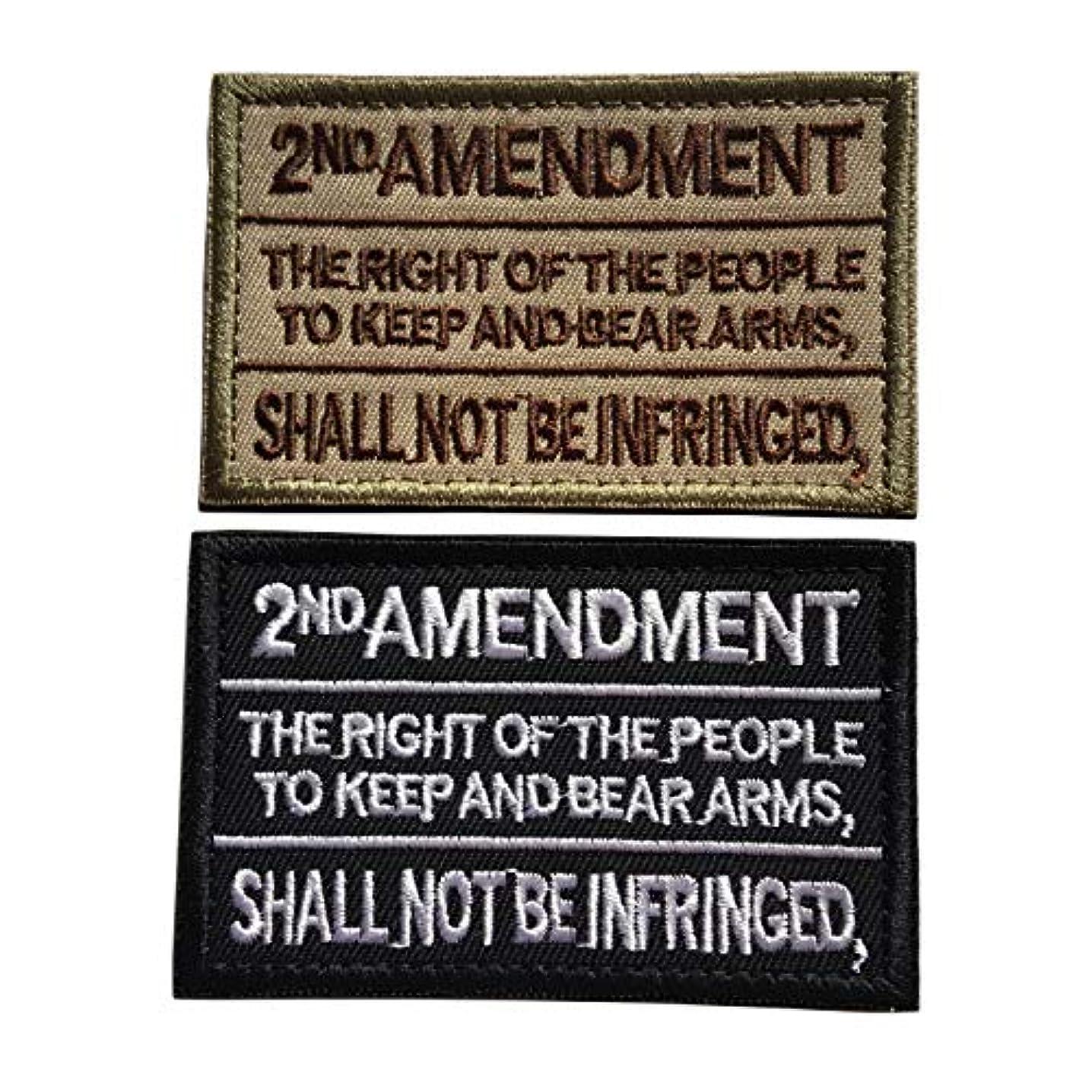 Homeland Security 2nd Amendment Skull W Pistol Guns 1789 Embroidered Fastener Hook and Loop Patch (C-Bundle 2pcs)