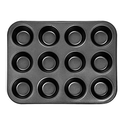 SODIAL Plaque a gateaux en Acier au Carbone pour Usage intensif, 12 moules a gateaux en Forme de Cupcake Mini Cup, Plateau de Cuisson Cupcake antiadhesif, Moule a Cupcake