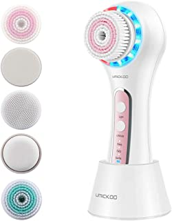 UMICKOO Facial Cleansing Brush,Red & Blue LED Light Skin Care Device,Rechargeable IPX7 Waterproof with 5 Brush Heads,Face ...