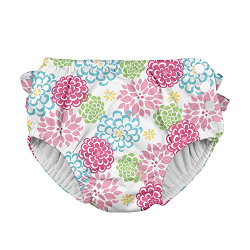i play. Baby Girls' Mix n Match Ultimate Ruffle Snap Swim Diaper,White Zinnia, 3T (2 3 Years)