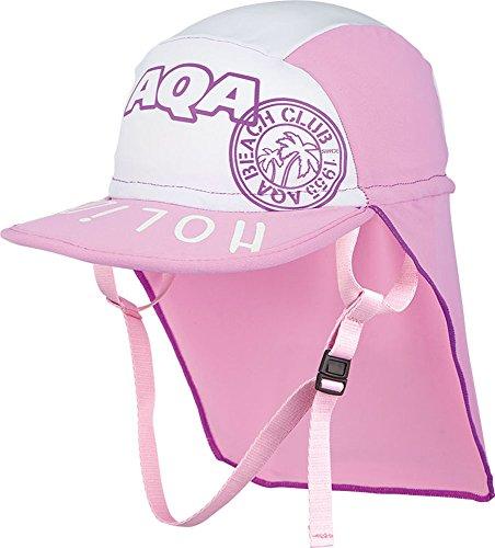 AQA(エーキューエー) スイムキャップ 子供用 UVカット 帽子 UVドライフラップキャップキッズ KW-4468A ピンク×ホワイト(56) M