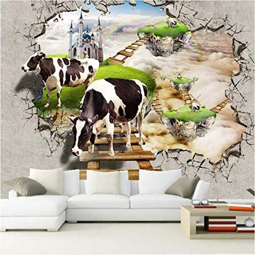 Fotobehang, decoratie, aangepaste 3D-fotobehang, stereoscopisch, koeien, grote muurschildering, woonkamer, sofa, tv, achtergrondfoto, wandschildering, 3D 300x210cm