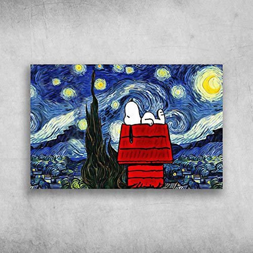 Snoopy is Sleep On Red House Starry Night Van Gogh Print Poster Canvas Gallery Wraps Wall Art Decoration
