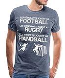 Les Experts Jouent Au Handball T-Shirt Premium Homme, M, Bleu chiné