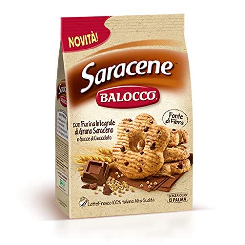6x Balocco Saracene Biscotti con grano saraceno e gocce di cioccolato Kekse mit Buchweizen und Schokoladenstückchen biscuits cookies 100% Italienische Kekse 700g