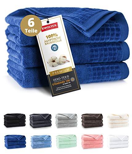 ZWOLTEX Himmlisch weiche Handtücher aus 100% Ägyptischer Baumwolle I Made IN EU I Gästehandtücher Ultra-Soft Duschtuch Badetuch - 3er Handtuch Set Dunkel-Blau