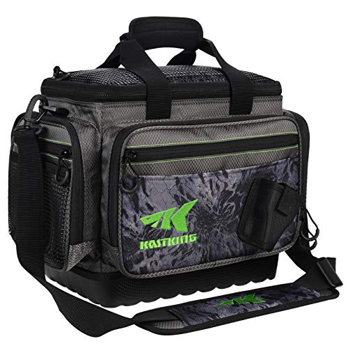 KastKing Fishing Tackle Bags, Saltwater Resistant Fishing Bags, Waterproof Fishing Gear Bag, Medium-Hoss,(Without Trays, 15x11x10.25 Inches), Blackout