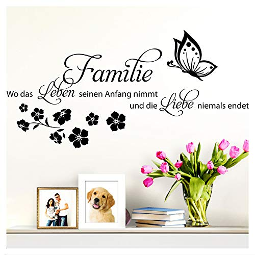 Wandaro Wandsticker Spruch Familie ist. Liebe | schwarz 75 x 36 cm | Wandaufkleber Flur Wandspruch Wohnzimmer Wandtattoo Aufkleber W3470