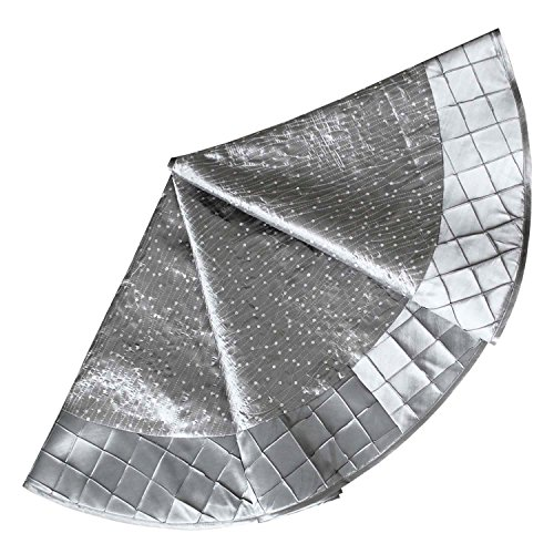 SORRENTO Sequin Embroidered,Pintuck Border,Silver Christmas Tree Skirt-90CM((10-15 DATES DELIVERY)
