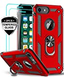 LeYi iPhone 8 Case, iPhone 7 Case, iPhone 6s/ 6 Case with Tempered Glass Screen Protector [2Pack], Military Grade Protective Phone Case with Ring Car Mount Kickstand for Apple iPhone 6/6s/7/8, Red
