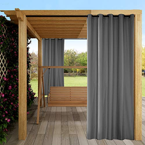 ele ELEOPTION Outdoor Vorhang Wasserdicht,Blickdicht Vorhang Winddicht UV Schutz Sonnenschutz Gardinen für Balkon Garten Hof (137 X 213cm, Grau)