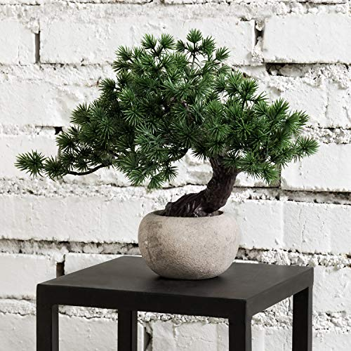 MyGift Indoor Artificial Bonsai Tree in Round Gray Paper Pulp Planter Pot