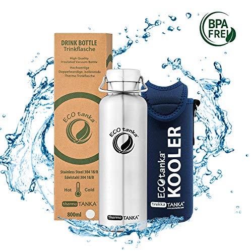 ECOtanka thermoTANKA Trinkflasche aus doppelwandigem Edelstahl 0,8 Liter auslaufsicher - Wasserflasche BPA frei mit Wave Verschluss + Kooler 1000ml