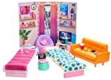 Barbie: Big City, Big Dreams Dorm Room Playset with 2 Beds, Couch, Bean Bag Chair, Bedroom Furniture, Décor & Accessories, Gift for 3 to 7 Year Olds