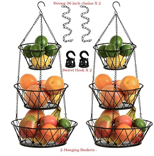 Hanging Fruit Baskets for Kitchen Bundle, 3 Tier, Black, 25 Inches Long, Includes Extension Chains, Swivel Hooks and Hardware