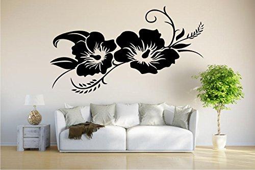 INDIGOS UG - Wandtattoo Wandsticker Wandaufkleber Aufkleber - Hibiskusblüte - Hibiskus - 120cm x 64cm schwarz - Büro Wohnzimmer Hotel Küche Dekoration