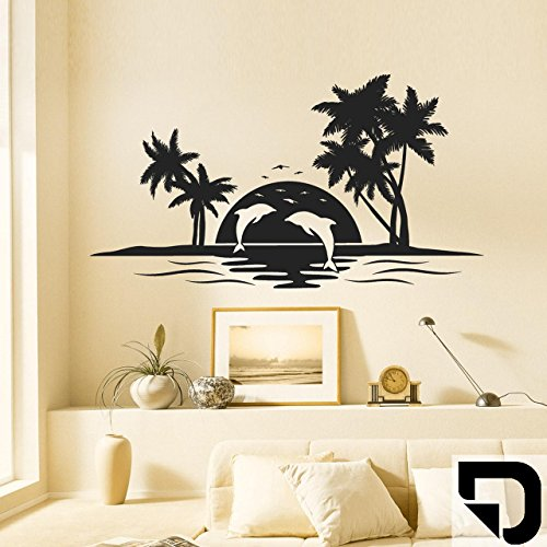 DESIGNSCAPE® Wandtattoo Insel mit Delfinen, Palmen und einer untergehenden Sonne 80 x 44 cm (Breite x Höhe) schwarz DW807153-S-F4
