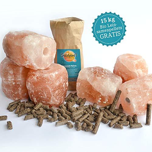 BIOMOND Salzleckstein Kristallsalz 6er-Set (je Stein 2-3 kg) Minerallecksteine mit Kordel / Gratis Bio Leinsamen Pellets BIOMOND 15 kg