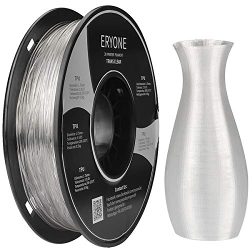 Filament TPU 1.75mm, Eryone TPU Filament 1.75mm, 3D Drucken Filament TPU for 3D Drucker, 0.5kg 1 Spool, Transparent