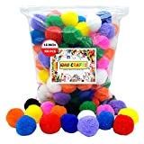 WAU Craft Pom Pom Balls - 100pcs 1.5 inch Multicolored Large Pompoms for Arts and DIY Project in Reusable Zipper Bag