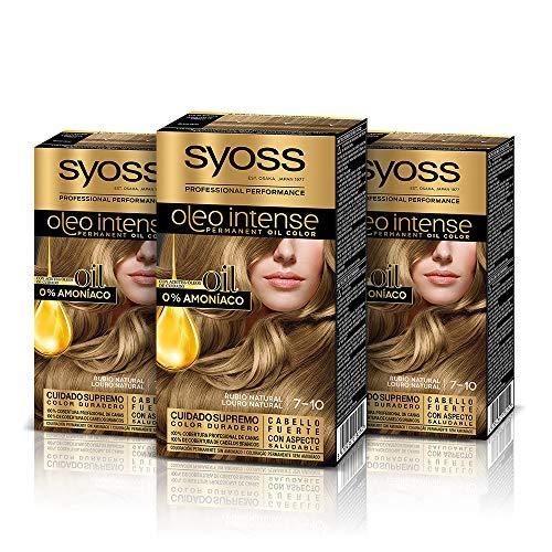 Syoss Oleo Intense - Tono 7-10 Rubio Natural (Pack De 3) – Coloración permanente sin amoníaco – Resultados de peluquería – Cobertura profesional de canas