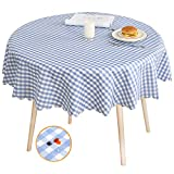 LOHASCASA Vinyl Oilcloth Tablecloth Waterproof Plastic Wipeable Spillproof Peva Heavy Duty Stain Resistant PVC Round Tablecloth for Dining Table Pattern Grid 54 Inch