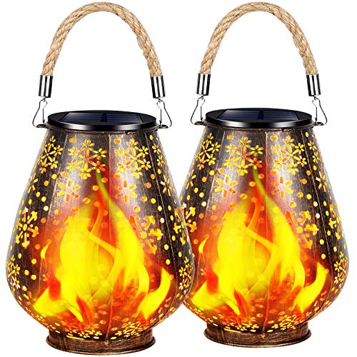 TomCare Solar Lights Outdoor Flickering Flame Metal Solar Lantern Outdoor Hanging Decorative Lanterns with Durable Rope Handle Solar Powered Waterproof Decorations for Patio Garden Deck Yard, 2 Pack