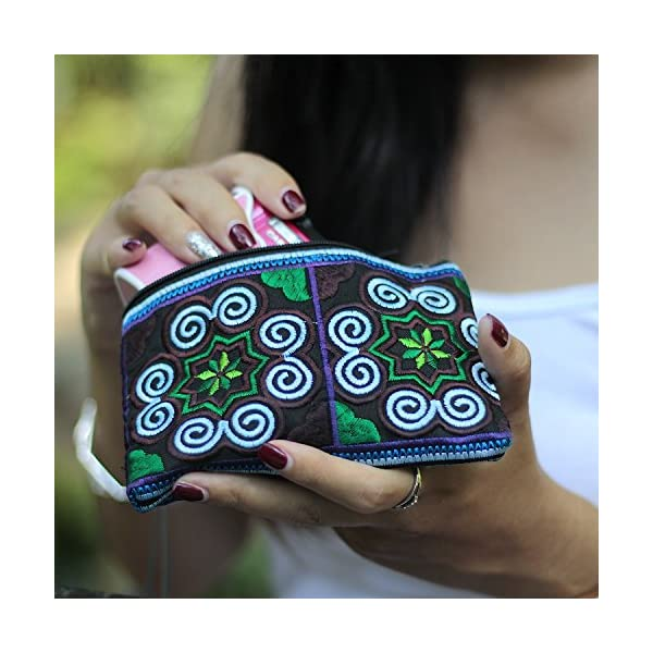 Sabai Jai – Handmade Coin Purse – Small Embroidered Boho Change Purse Pouch
