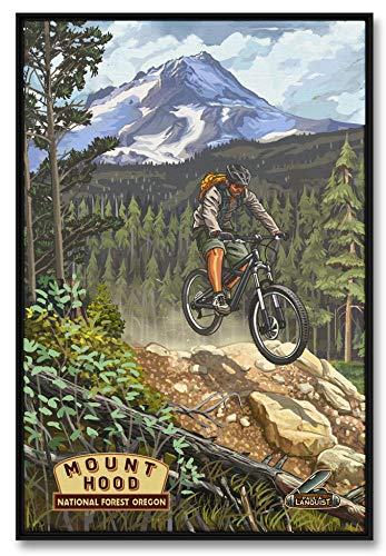 Mountain Bike Mt. Hood National Forest Professionally Framed Giclee Archival Canvas Wall Art for Home & Office from Original Travel Artwork by Artist Paul A. Lanquist 24' x 36'