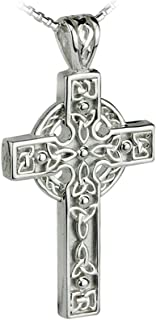 Solvar Trinity Knot Celtic Cross Necklace Sterling Silver Irish Made in Gift Box