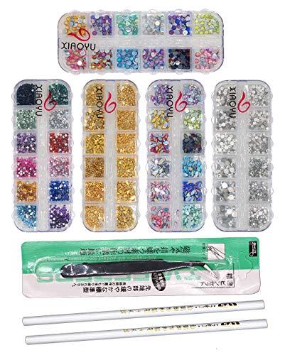 Xiaoyu 5 boîtes ongles strass art kit ongles strass multicolores goujons strass oeil de cheval pour nail art décorations fournitures avec 1PC pincettes, crayons de cire 2PCS, D