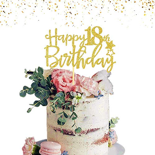 JeVenis Gold Glitter Happy 18th Birthday Cake Topper Hello 18 Cake Topper 18th Birthday Cake Decoration for Forever 18 Party Decoration